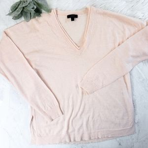 J. Crew Pink Linen Merino Wool V Neck Sweater